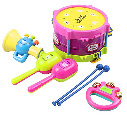 Bolomi Musical Instruments Toys Baby Drum Music Shakers Percussion Instruments Tambourine Set for Kids