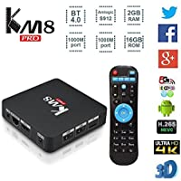 MaQue Android TV Box KM8 PRO Smart TV Box Android 6.0 Amlogic S912 Octa-core 64 Bit 2GB 16GB VP9 H.265 UHD 4K Mini PC 2.4G & 5G Wi-Fi 1000M LAN Airplay Miracast Bluetooth 4.0 HD Set-Top Box