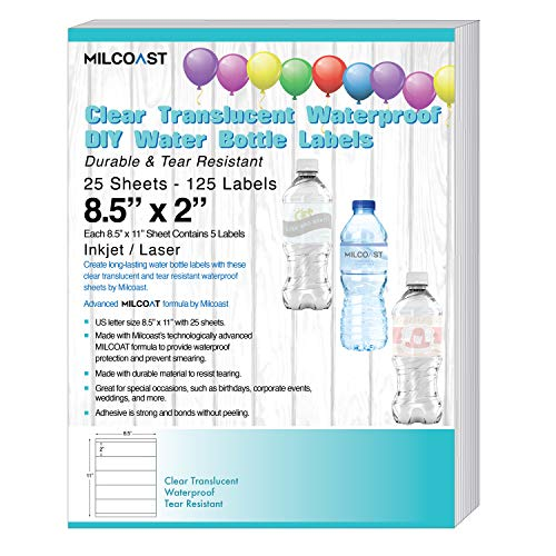 Milcoast Glossy Clear Translucent Waterproof Tear Resistant Water Bottle Labels 8.5