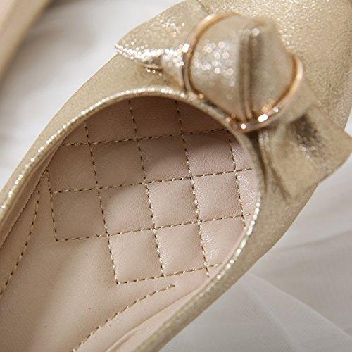 Meeshine Frauen Ballerinas Comfort Slip On Fashion Kleid Schuhe Gold