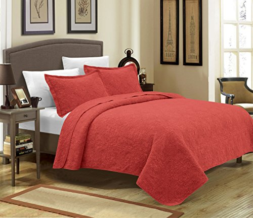 Mk Collection 3pc Crafted And Quilted Bedspread With New Material Handcrafted Solid Quilt With Intricate Stitch Pattern Burgundy/Rose (Full/Queen)