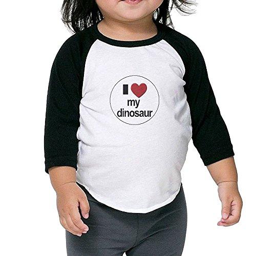 Kids Raglan T Shirts I Love My Dinosaur Baseball 3/4 Sleeves Baby Tees School Uniforms