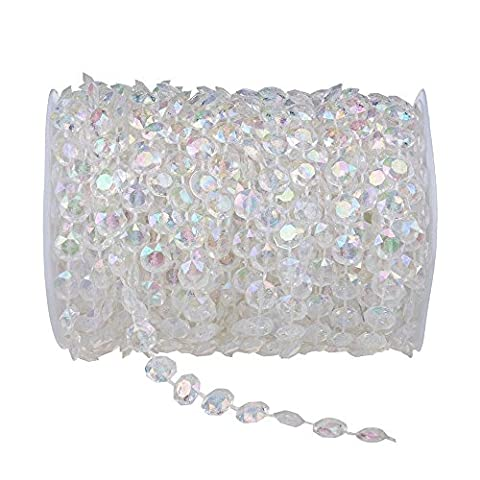 econoLED 99 ft Clear Crystal Like Beads by the roll - Wedding Decorations - 1Roll US Seller - Sixteen Lamp Chandelier
