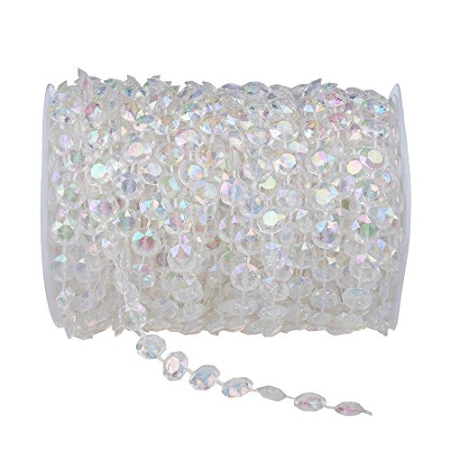 eBoTrade New Version 99 ft Clear Crystal Like Beads by the roll - Wedding Decorations - - Hut 8 Number