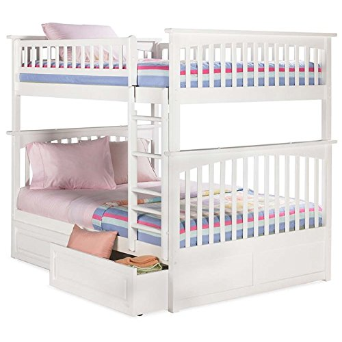Columbia Bunk Bed with 2 Raised Panel Bed Drawers, Full Over Full, White For Sale