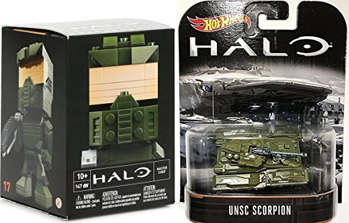 Halo Hot Wheels Unsc scorpion army tank military retro entertainment halo vehicle. + Buildable Figure - Halo Master Chief Figure Model Kit set