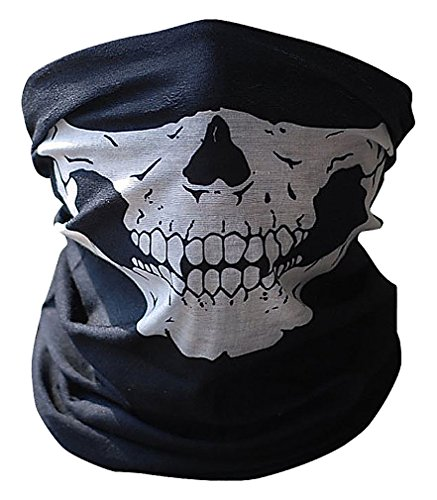 Maze Scary Dacron Skull Print Black White Half Face Paintball Halloween Mask, 1- One Size ()