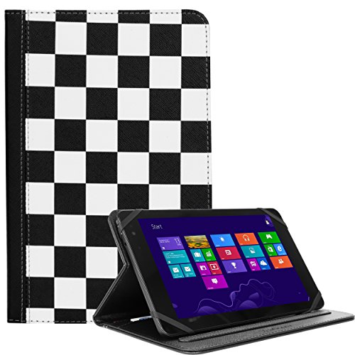 "Lightweight Wallet Portfolio White Checkers For Digiland 8""/7"" Quad-core/D Series/7"" Dual-core/X2/DOPO Double Power 7-inch Tablet"