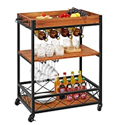 Home Bar Cabinetry kealive Bar Cart for The Home, Industrial Wood Metal Wine Cart on Wheels with Glass Holder Wine Bottle Rack, Utility… home bar cabinetry