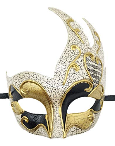 Biruil Men's Masquerade Mask Venetian Muscial Mardi Gras Ball Fancy Costume Party Eyemask (Crack Gold)
