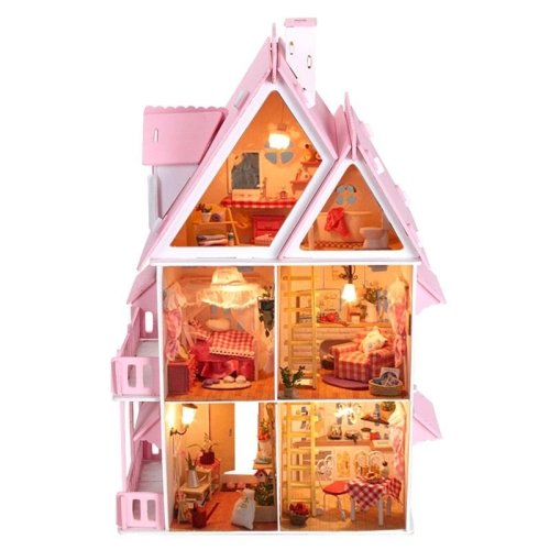 LightInTheBox Teenage Dream, Gifts for Girls,Large Dream Villa DIY Wood Dollhouse Including All Furniture - Big Doll Furniture