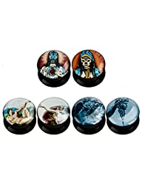KUBOOZ(3 Pairs) Christ-art Acrylic Ear Plugs Tunnels Gauges Stretcher Piercings
