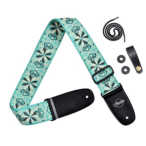 - Amumu Hootenanny Jacquard Guitar Strap Green Polyester for Acoustic, Electric and Bass Guitars with Lace Tie - 2.3