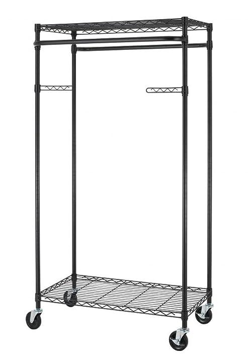 Amazon.com: New Bronze 2-Tier Rolling Clothing Garment Rack Shelving ...