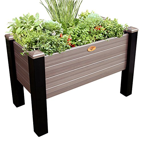 Gronomics MFEGB 24-48 BW Maintenance Free Elevated Garden Bed, 24'' x 48'' x 32''/12.5'', Black/Walnut by Gronomics