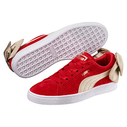 (PUMA Women's Suede Bow Varsity Sneaker, Ribbon red-Metallic Gold, 8.5 M US)