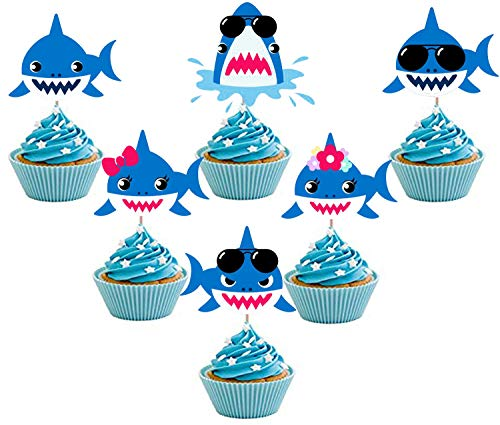 24 Pieces Blue Baby Shark Cupcake Toppers Shark Theme Party Family Supplies for Baby Shower Birthday Party Decorations