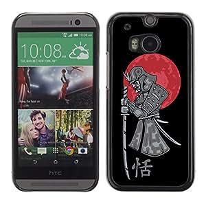 LASTONE PHONE CASE / Diseño de Delgado Duro PC / Aluminio Caso Carcasa Funda para HTC One M8 / Japanese Samurai Warrior & Blood Moon