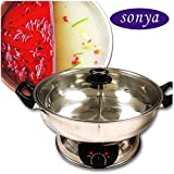 Cheap Sonya Shabu Shabu Hot Pot Electric Mongolian Hot Pot W/DIVIDER UL Approved for safety