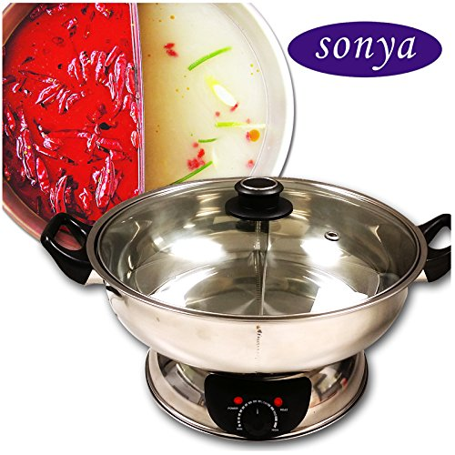 Sonya Shabu Shabu Hot Pot Electric Mongolian Hot Pot W/DIVIDER UL Approved for safety by Sonya