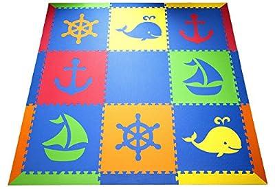 "SoftTiles Nautical Ocean Theme Premium Interlocking Foam Large Children's Playmat 78""x78"""