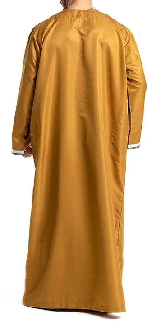 MMCP Mens Round Neck Long Sleeve Classic Muslim Robes Splicing Top Shirt