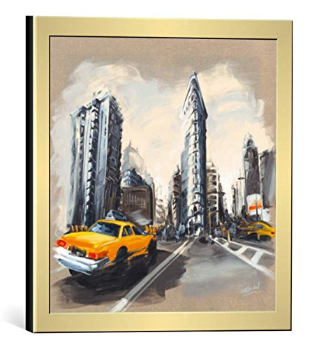 (kunst für alle Framed Art Print: Sandrine Blondel New York - Flatiron Building - Decorative Fine Art Poster, Picture with Frame, 11.8x11.8 inch / 30x30 cm, Gold Brushed)