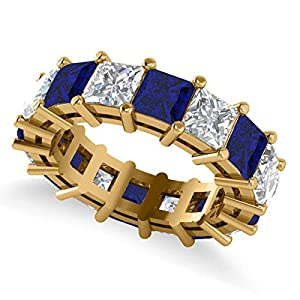 14k Gold (10.08ct) Princess Cut Diamond and Blue Sapphire Eternity Wedding Band