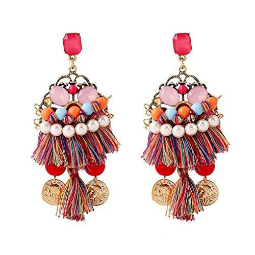 (Vintage Bohemia Handmade Coin Pearl Earings)