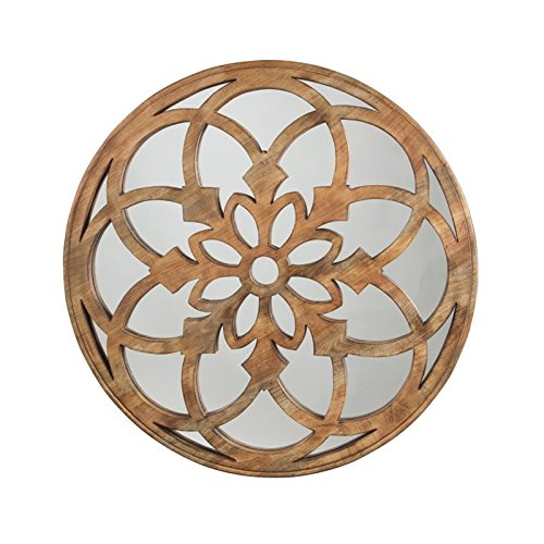 Ashley Furniture Signature Design - Oilhane Floret Carved Wood Wall Mirror - Natural by Signature Design by Ashley