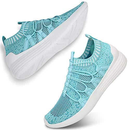 JIASUQI Women's Casual Walking Shoes Breathable Mesh Work Slip-on Sneakers Sky Blue 8.5