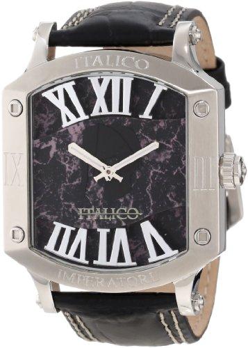 Italico Men's ITIS01-F Imperatore Tonneau Black Marbleized Dial Leather Watch