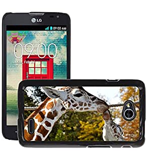Super Stella Slim PC Hard Case Cover Skin Armor Shell Protection // M00147756 Giraffes Kiss Zoo Mammal // LG Optimus L70 MS323