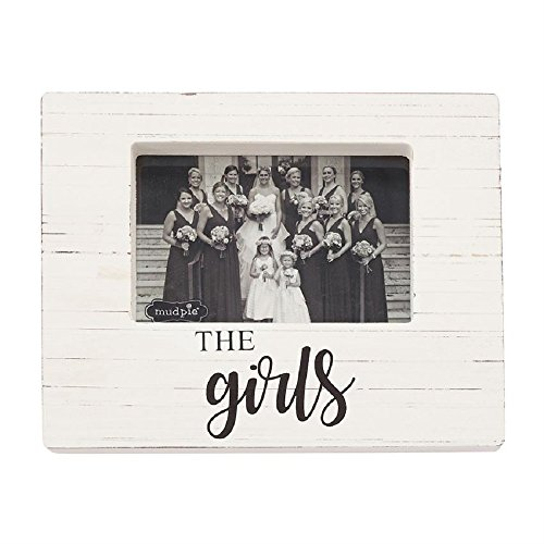 Mud Pie 4693019 The Girls Wooden Block Frame, One Size, White (Mud Pie Picture Frame Wood)