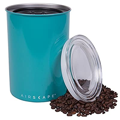 Coffee Storage Canister - Airtight Container Preserves Food Freshness - AirScape Steel - 64 fl. oz - Turquoise