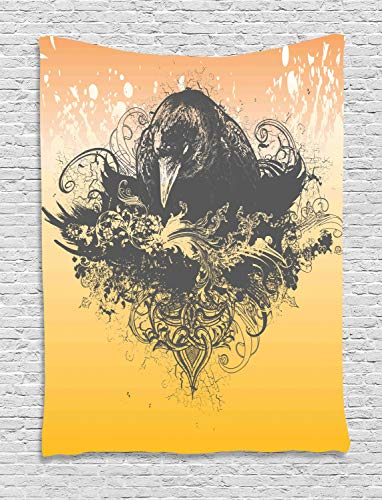 Ambesonne Black Decor Tapestry, Halloween Theme Vector Illustration of a Wicked Crow and Flowers Print, Wall Hanging for Bedroom Living Room Dorm, 40 W x 60 L Inches, Black and Mustard ()