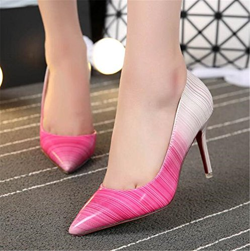 Print Heels Dress Colors Pointed Toe Women's Rose High Stilettos Pumps Mixed Shoes MAKEGSI tqpxfwB1