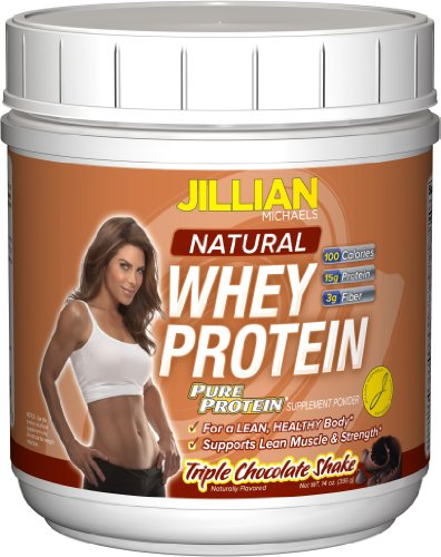 Jillian Michaels Pure Protein,   Natural Whey Protein, Triple chocolate Shake, 14 Ounce Tub