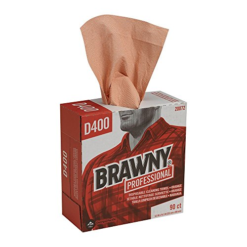 GP PRO Brawny Professional 20072 D400 Disposable Cleaning Towel, Tall Box, Orange by Brawny Professional