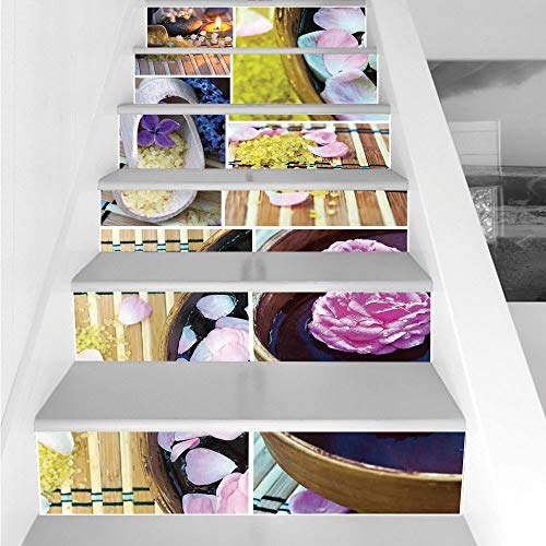 Stair Stickers Wall Stickers,6 PCS Self-Adhesive,Spa,Spa Organic Cosmetics Theme Wooden Bowl Petals Lavender Candle Pebbles Therapy Oil,Purple Brown,Stair Riser Decal for Living Room, Hall, Kids Room by iPrint (Image #2)