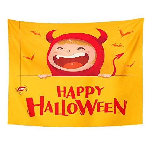 (TOMPOP Tapestry Cartoon Happy Halloween Red Devil Demon Big Signboard Yellow Home Decor Wall Hanging for Living Room Bedroom Dorm 60x80)