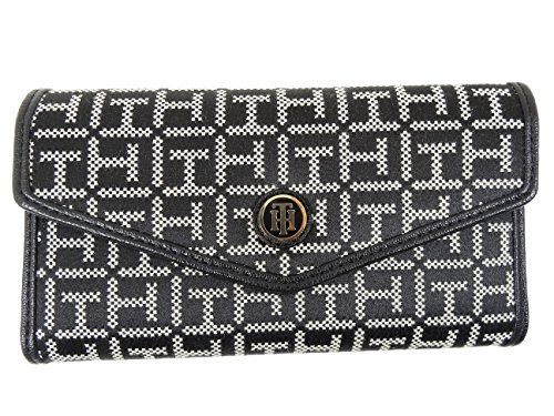 Tommy Hilfiger Women's Clutch Checkbook Wallet (Black/White Dot Logo/Tapered Flap)