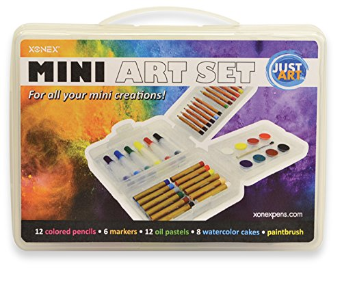 Xonex Mini Art Set with Colored Pencils, Markers, Oil Pastels, Watercolor Cakes, Brush