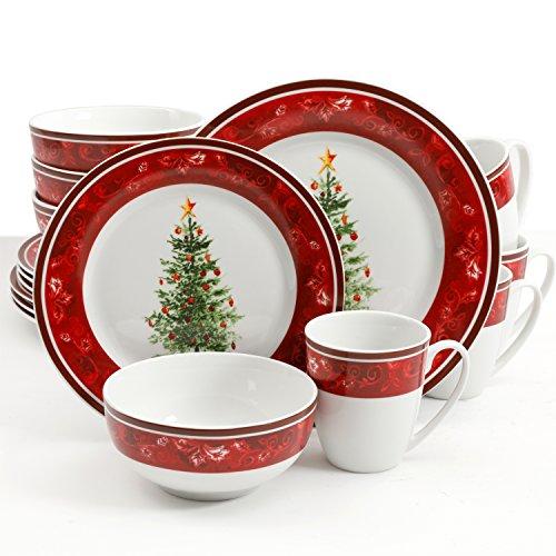 Gibson Home Noel Nostalgia 16 Piece Dinnerware Set - (Christmas Theme)