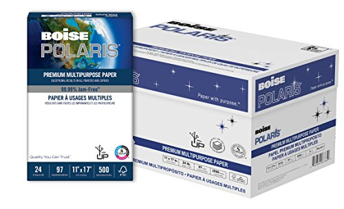BOISE POLARIS Premium Multipurpose Paper, 11 x 17, 97 Bright White, 24 lb, 5 ream carton (2,500 Sheets)