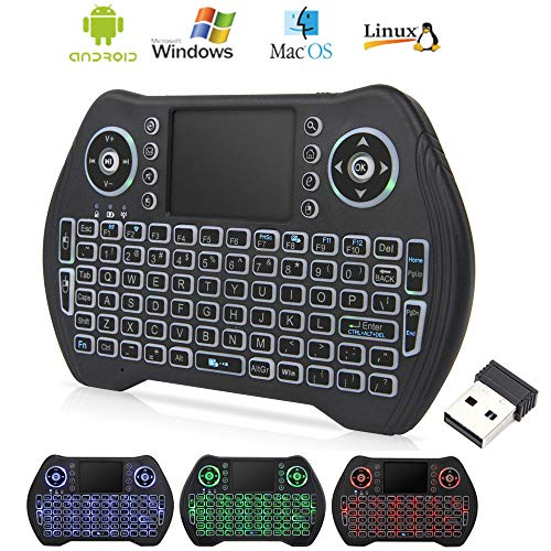 Mini Wireless Keyboard with Touchpad Mouse, 2.4GHz LED Backlit Multi-Media Handheld Android Box Remote Keyboard for Pc, Pad, Xbox 360, Ps3, Google Android Tv Box, Htpc, Iptv, Raspberry Pi (Best Wireless Remote For Android Box)