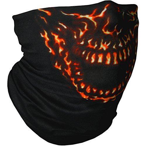 CampTeck Breathable Multi-Purpose Seamless Bandana Tube Face Mask Balaclava Headband for Motorcycling, Hiking, Riding, Cycling and Other Outdoor Use - Flaming Skull
