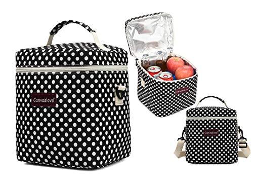 Dot Polka Box Lunch - Canvaslove Insulated Lunch Bag With Shoulder Strap Large Lunch Box Cooler Tote Shoulder bag (Black Polka Dot)