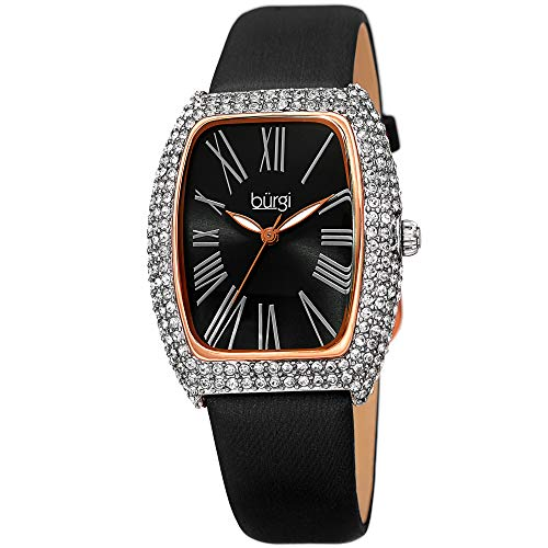 (Burgi Rectangle Swarovski Crystal & Diamond Watch - Accented Leather Strap Women's Watch - Roman Numerals - Mother's Day Gift- BUR237BKR (Rose Gold))