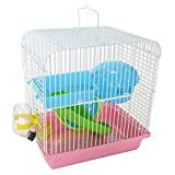 Yml H157Pk Dwarf Hamster, Mice Cage Travel Cage with Accessories, Pink